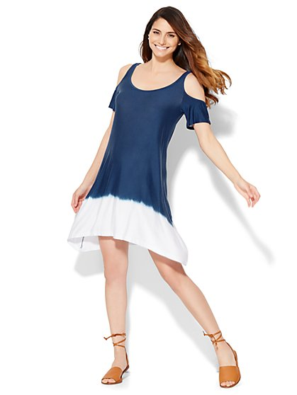 Lounge - Cold-Shoulder Sharkbite Dress - Dip Dye  - New York & Company