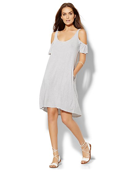 Lounge - Cold-Shoulder Shift Dress - Stripe  - New York & Company