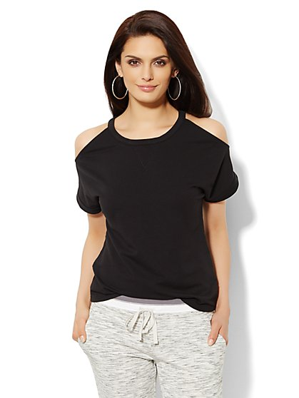 Lounge - Cold-Shoulder Sweatshirt  - New York & Company