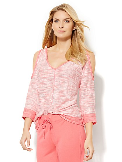 Lounge - Cold-Shoulder V-Neck Top  - New York & Company