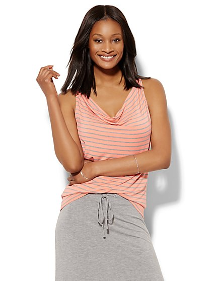 Lounge - Cowl-Neck Tank Top - Stripe  - New York & Company
