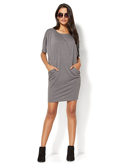 Lounge - Crossover-Detail Shift Dress - New York & Company