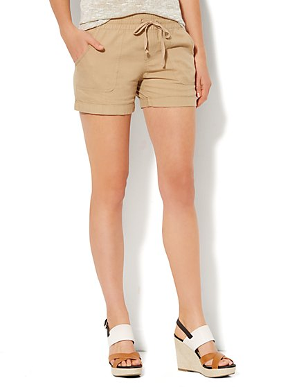 Lounge - Cuffed Linen Short  - New York & Company