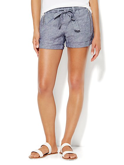 Lounge - Cuffed Tie-Front Short  - New York & Company