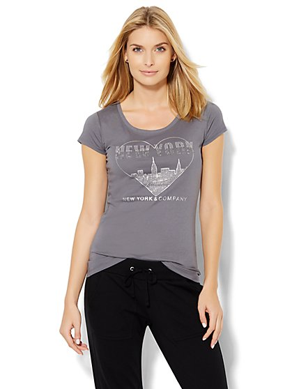 Lounge - Dazzling Heart/Skyline Tee  - New York & Company