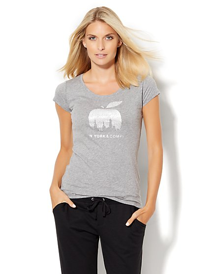 Lounge - Dazzling Skyline Apple Logo Tee  - New York & Company