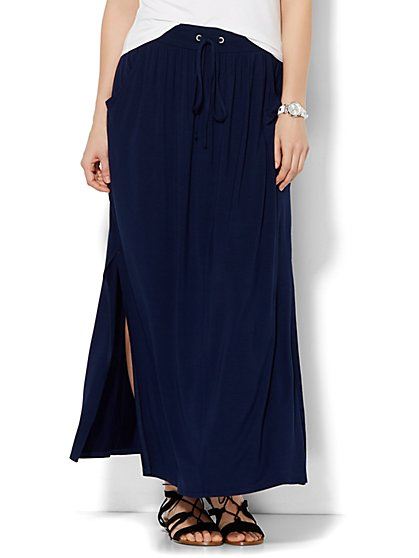 Lounge - Double-Slit Maxi Skirt - Solid  - New York & Company