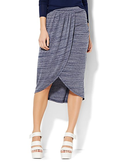 Lounge - Draped Midi Skirt - Space Dye  - New York & Company
