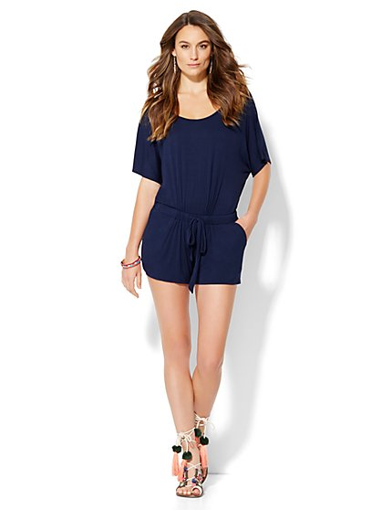 Lounge - Drawstring Dolman Romper  - New York & Company