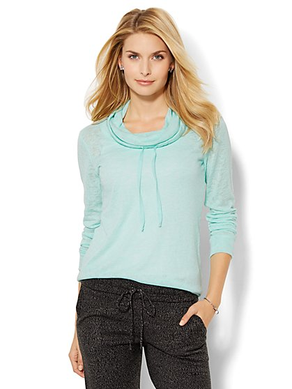 Lounge - Drawstring Funnel-Neck Pullover  - New York & Company
