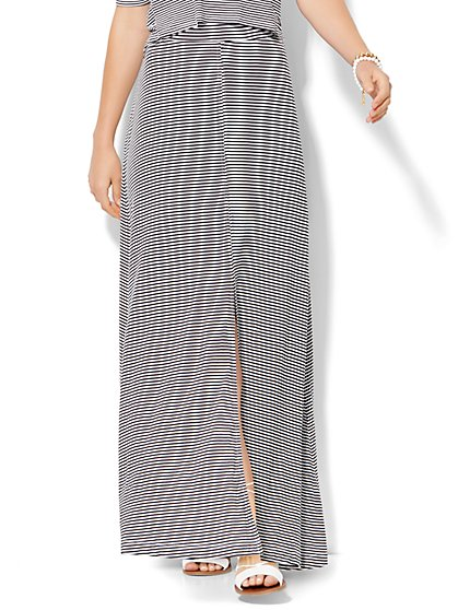 Lounge - Drawstring Maxi Skirt - Stripe  - New York & Company