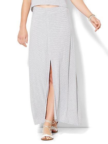 Lounge - Drawstring Maxi Skirt - Stripe  - New York & Company