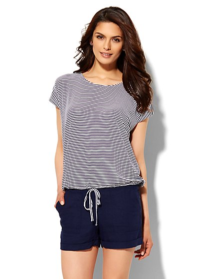 Lounge - Drawstring T-Shirt - Stripe  - New York & Company