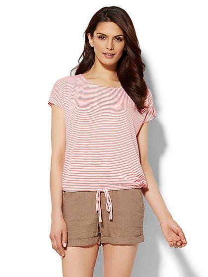 Lounge - Drawstring T-Shirt - Stripe  - New York & Company