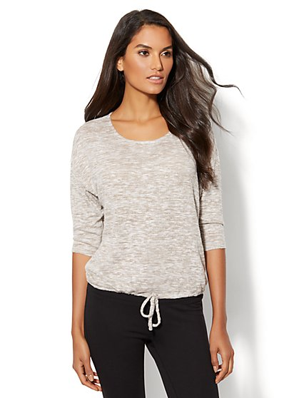 Lounge - Drawstring-Tie Dolman Sweater - New York & Company