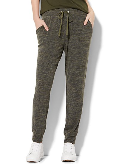 Lounge - Drawstring-Tie Jogger - Heathered Olive  - New York & Company