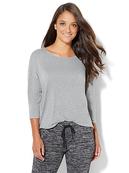 Lounge - Drawstring-Tie Tee - Medium Heather Grey  - New York & Company