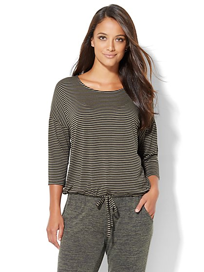 Lounge - Drawstring-Tie Tee - Stripe  - New York & Company