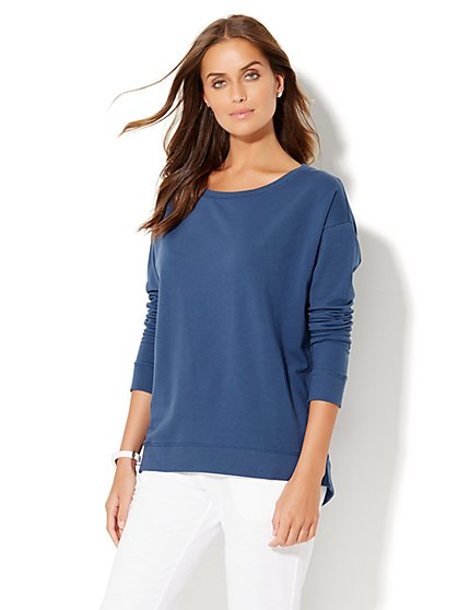 Lounge - Drop-Shoulder Hi-Lo Top  - New York & Company