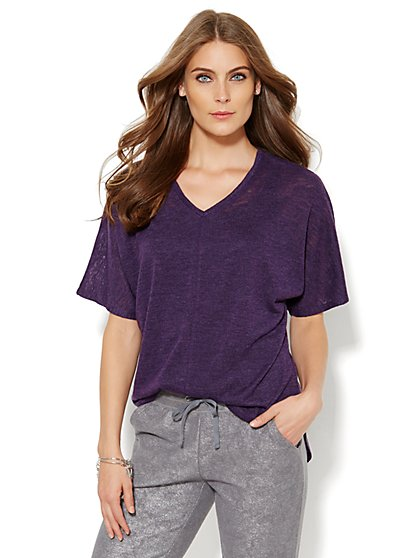 Lounge - Elbow-Sleeve V-Neck Top - New York & Company