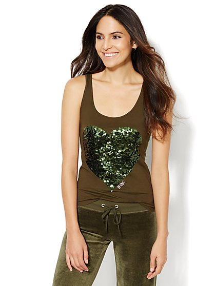 Lounge - Embellished Heart Tank  - New York & Company