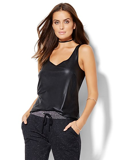 Lounge - Faux-Leather Front Tank Top  - New York & Company