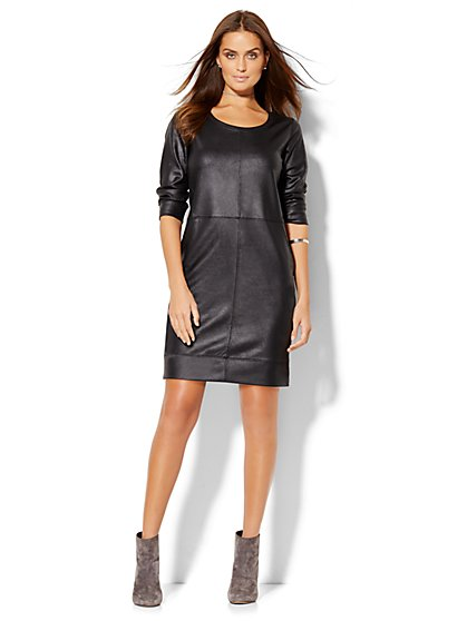 Lounge - Faux-Leather Shift Dress  - New York & Company