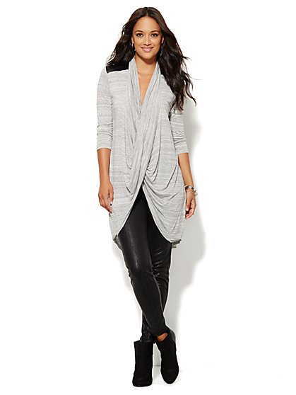 Lounge - Faux-Leather Trim Cross-Front Tunic - Dark Grey Jaspe - New York & Company
