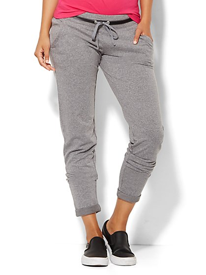 Lounge - Faux-Leather Trim Jogger - Medium Heather Grey  - New York & Company