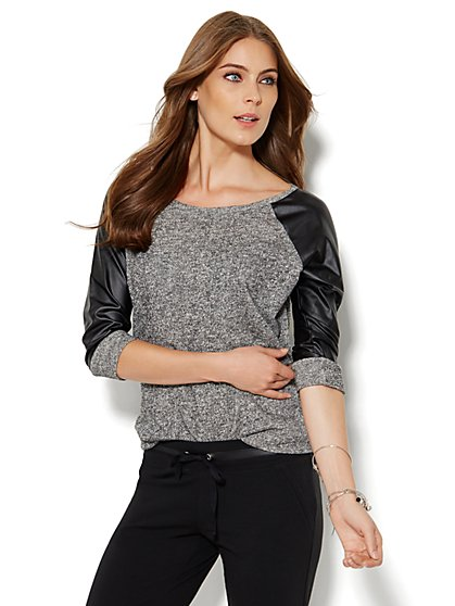 Lounge - Faux-Leather Trim Raglan Top  - New York & Company