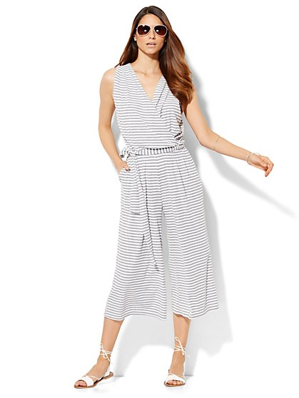 Lounge - Faux-Wrap Gaucho Jumpsuit - Stripe  - New York & Company