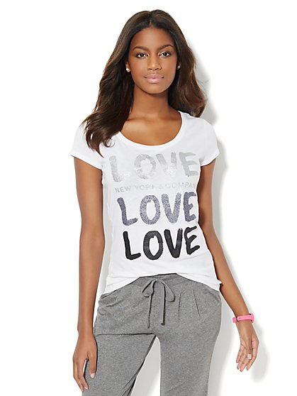 Lounge - Glitter Love Logo Tee  - New York & Company