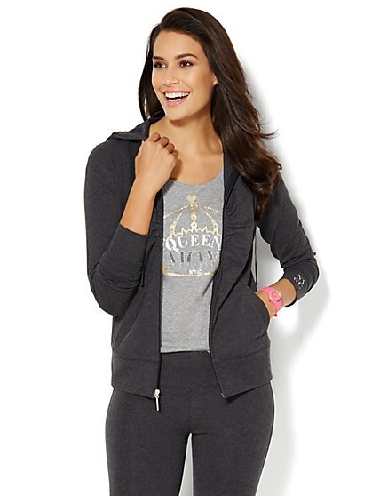 Lounge - Glittering Hooded Jacket - Heather Grey - New York & Company