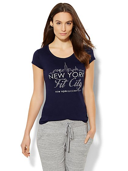 Lounge - Glittering Skyline/Logo Tee  - New York & Company
