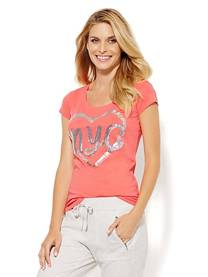 Lounge - Heart & Sequin Logo T-Shirt  - New York & Company