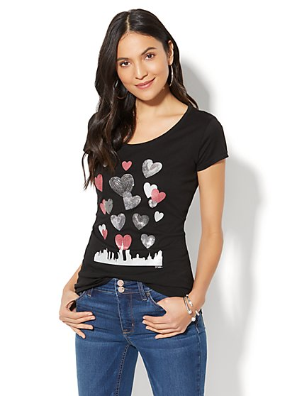 Lounge - Hearts & Skyline Graphic Logo T-Shirt - Black - New York & Company