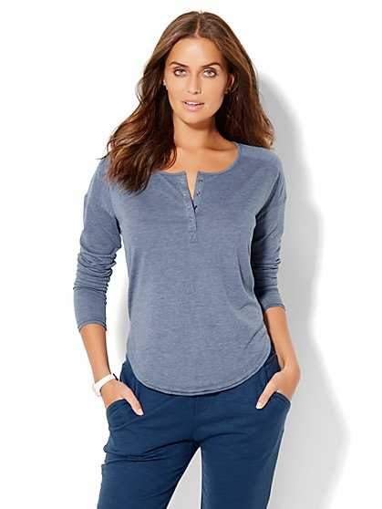 Lounge - Hi-Lo Henley Top  - New York & Company