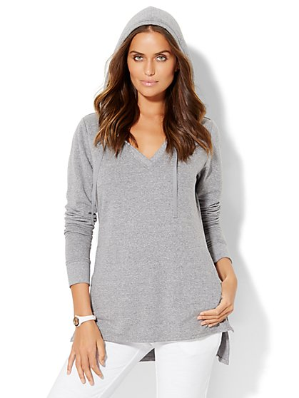 Lounge - Hi-Lo Hooded Top  - New York & Company