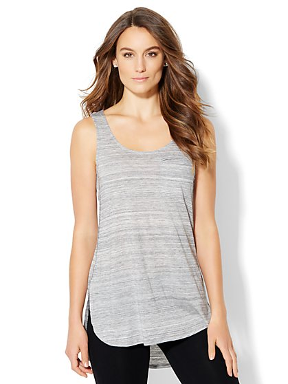 Lounge - Hi-Lo Tank Top - Grey  - New York & Company