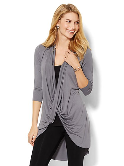 Lounge - Hi-Lo Twist-Front Tunic  - New York & Company