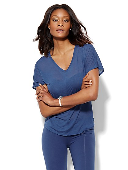Lounge - Hi-Lo V-Neck T-Shirt  - New York & Company
