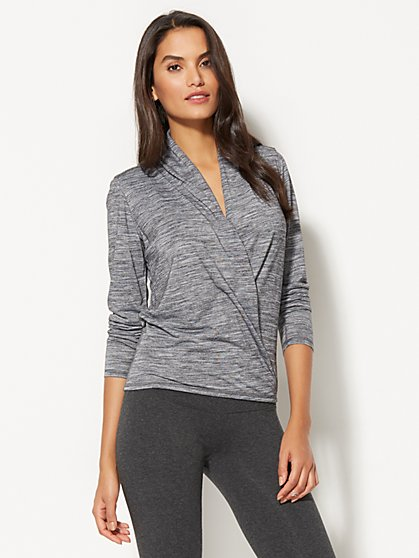 Lounge - Hooded Faux-Wrap Top - New York & Company