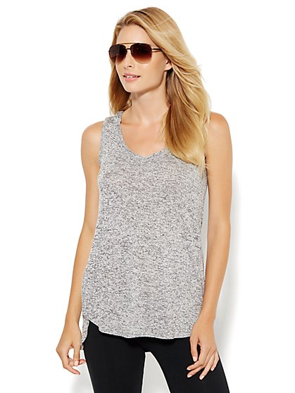 Lounge - Hooded Knit Tank   - New York & Company