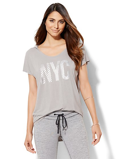 Lounge - Hooded Tunic Logo T-Shirt  - New York & Company