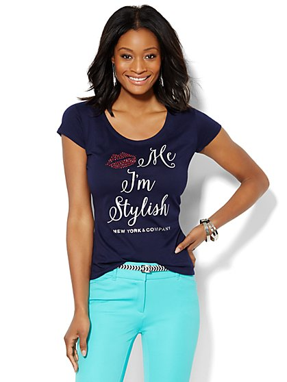 Lounge - Kiss Me I'm Stylish Logo Tee  - New York & Company