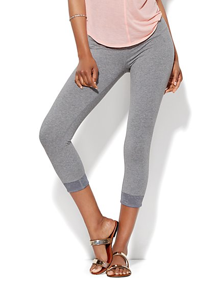 Lounge - Lace-Cuff Crop Legging  - New York & Company