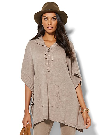 Lounge - Lace-Up Hooded Poncho - New York & Company