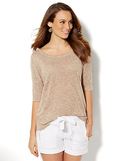 Lounge - Light-Knit Draped Back Pullover  - New York & Company