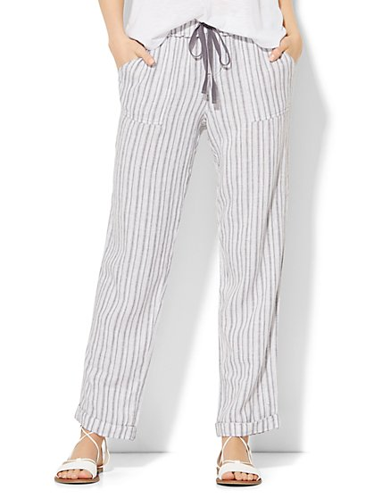 Lounge - Linen Boyfriend Pant - Stripe  - New York & Company