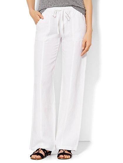 Lounge - Linen Drawstring Pant - Straight Leg -Tall  - New York & Company